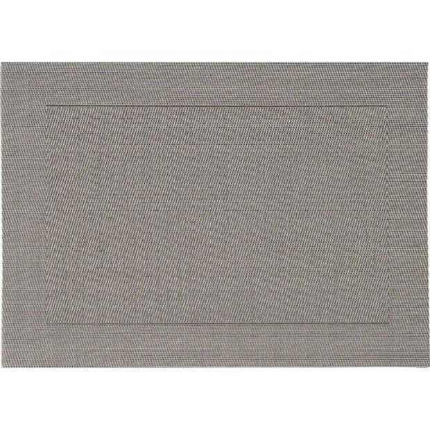 6x Placemats grijs geweven/gevlochten met rand 45 x 30 cm - Grijze placemats/onderleggers tafeldecoratie - Tafel dekken