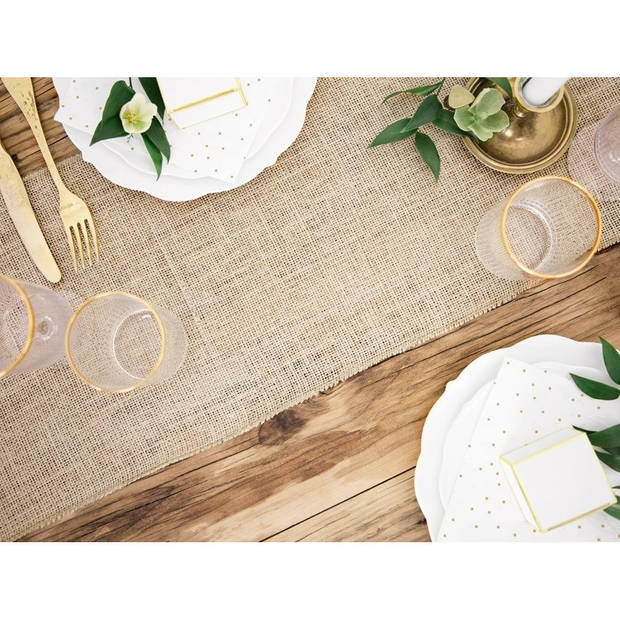 Jute tafelloper 28 x 500 cm - Thema antiek/romantisch - Tafeldecoratie versieringen