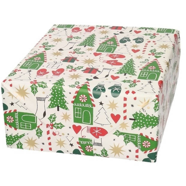 Kerst inpakpapier/cadeaupapier wit met bomen/wanten print 200 x 70 cm op rol - kerstcadeau/cadeauverpakkingen