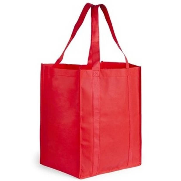 Boodschappen tas/shopper rood 38 cm - Stevige boodschappentassen/shopper bag