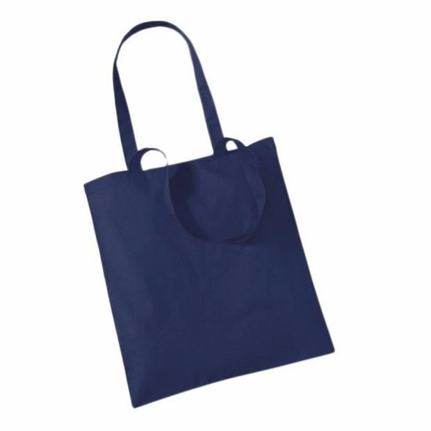 10x Katoenen schoudertasjes navy 42 x 38 cm - 10 liter - Shopper/boodschappen tas - Tote bag - Draagtas
