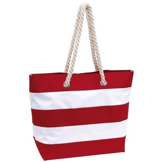 Strandtas gestreept rood/wit 47 cm - Strandartikelen beach bags/shoppers met klittenbandsluiting