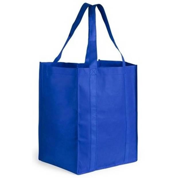 Boodschappen tas/shopper blauw 38 cm - Stevige boodschappentassen/shopper bag
