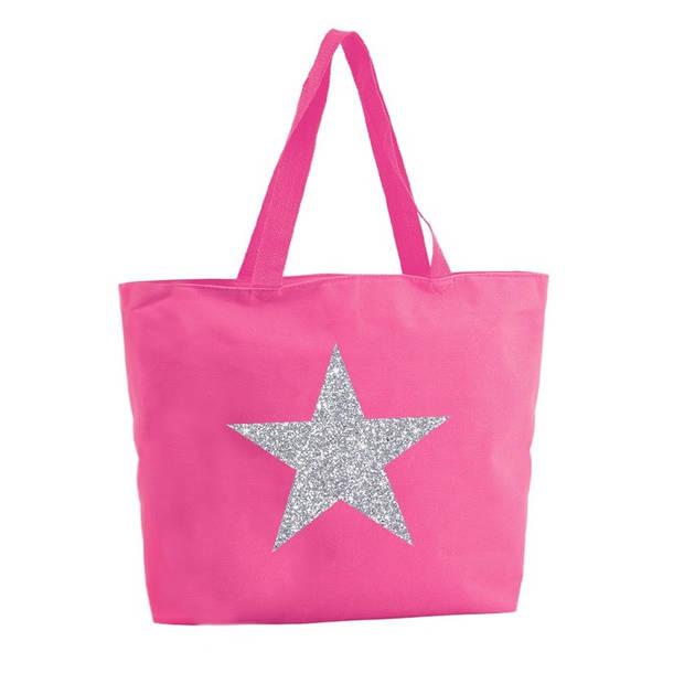 Zilveren ster glitter shopper tas - fuchsia roze - 47 x 34 x 12,5 cm - boodschappentas / strandtas