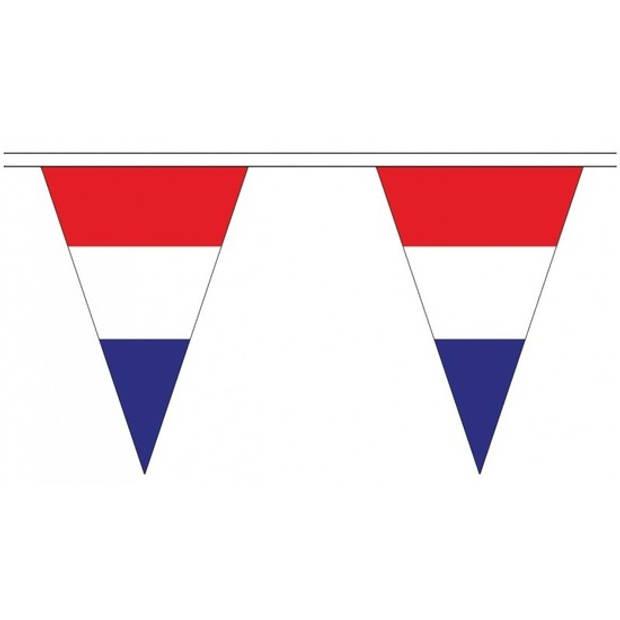 Nederland landen punt vlaggetjes 5 meter - Slinger/vlaggenlijn - Nederlandse vlag - Holland versiering slingers