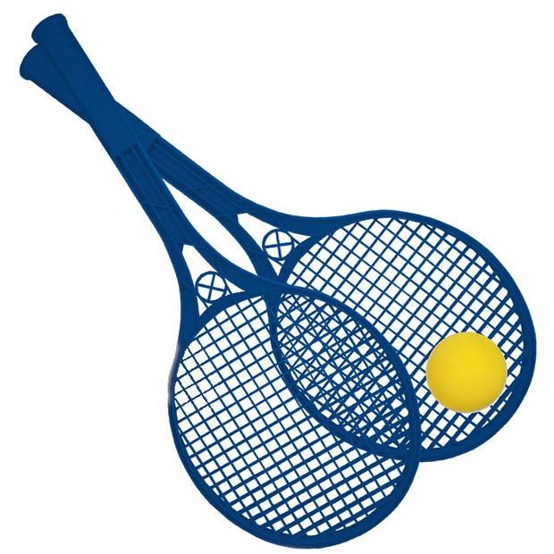 Happy People Beach Ball rackets 2 stuks en bal 54 cm blauw