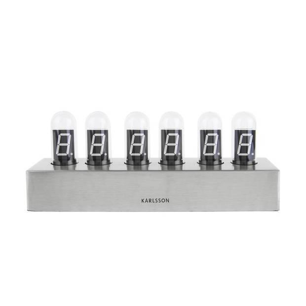 Karlsson - Karlsson Cathode Tafekklok - zilver, wit LED