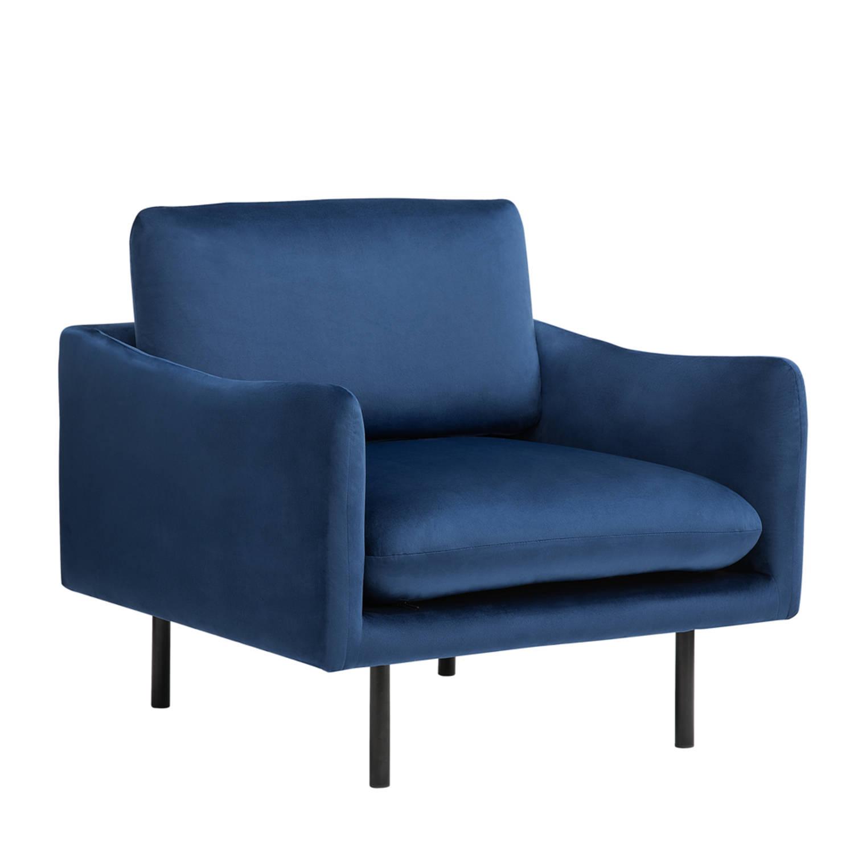 Beliani VINTERBRO Fauteuil Blauw Fluweel