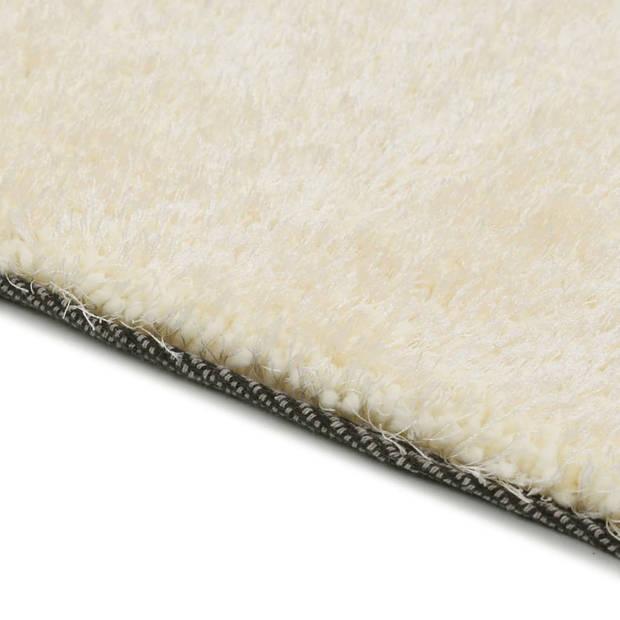 vidaXL Vloerkleed shaggy hoogpolig 160x230 cm crème