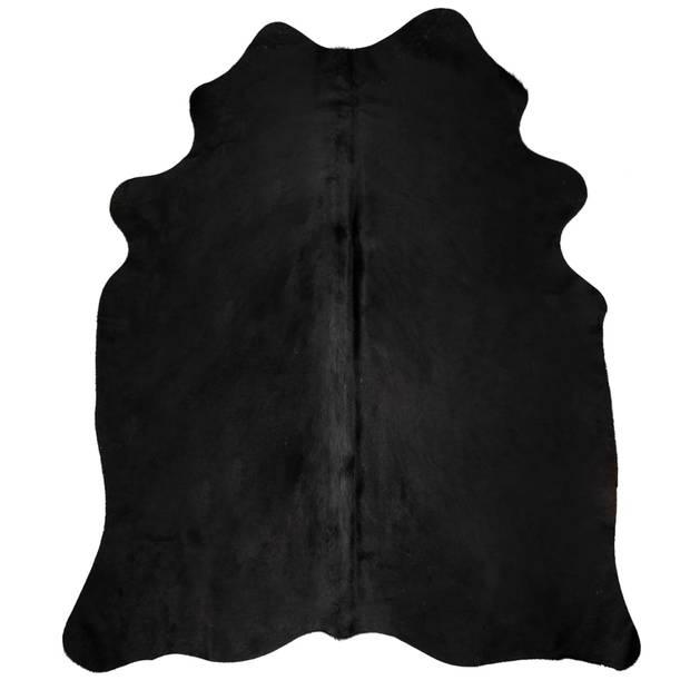 vidaXL Vloerkleed 150x170 cm echte runderhuid zwart