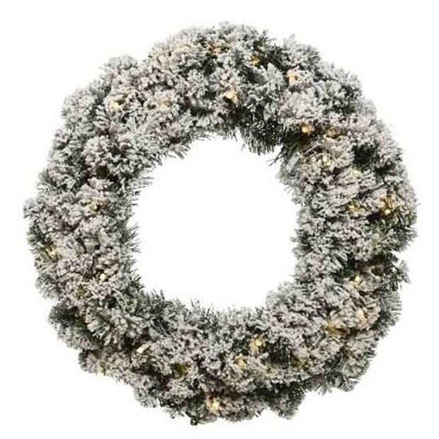 Groen/witte kerstkrans 50 cm Imperial met kunstsneeuw en led-lichtjes - Kerstkransen kerstversieringen/kerstdecoraties