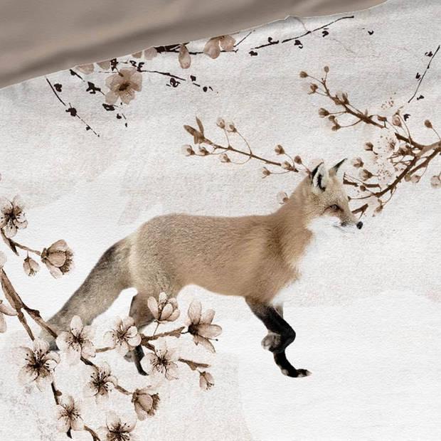 Romanette Foxy flanel dekbedovertrek - 1-persoons (140x200/220 cm + 1 sloop) - Flanel - Taupe