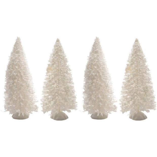 Kerstdorp maken besneeuwde decoratie dennenbomen 4 stuks 15 cm - Kerstboompjes