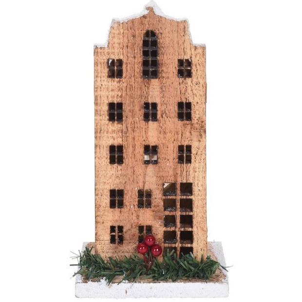 Kerstdorpen bouwen kersthuisjes amterdamse grachtenpand 21 cm - Met verlichting - Kerstversieringen/kerstdecoraties