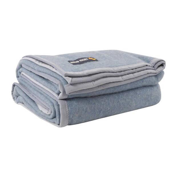 Good Night Silver deken - 100% wol - 220x240 cm - Bleu