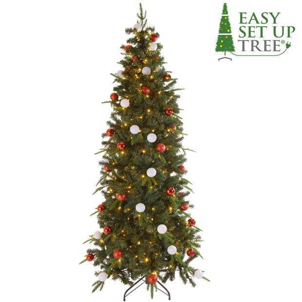 Kerstboom met versiering Easy Set Up Tree® LED Avik Decorated Red 210 cm - Luxe uitvoering - 310 Lampjes