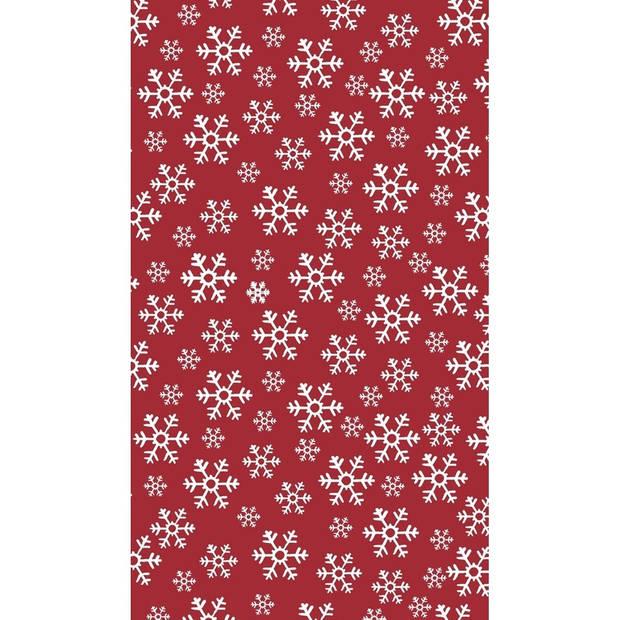 Kerst thema tafellaken/tafelkleed rood/wit 138 x 220 cm - Kerstdiner tafeldecoratie versieringen