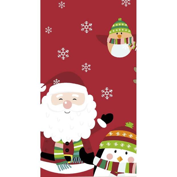 Kerst thema tafellaken/tafelkleed rood/figuren 138 x 220 cm voor kinderen - Kerstdiner tafeldecoratie versieringen