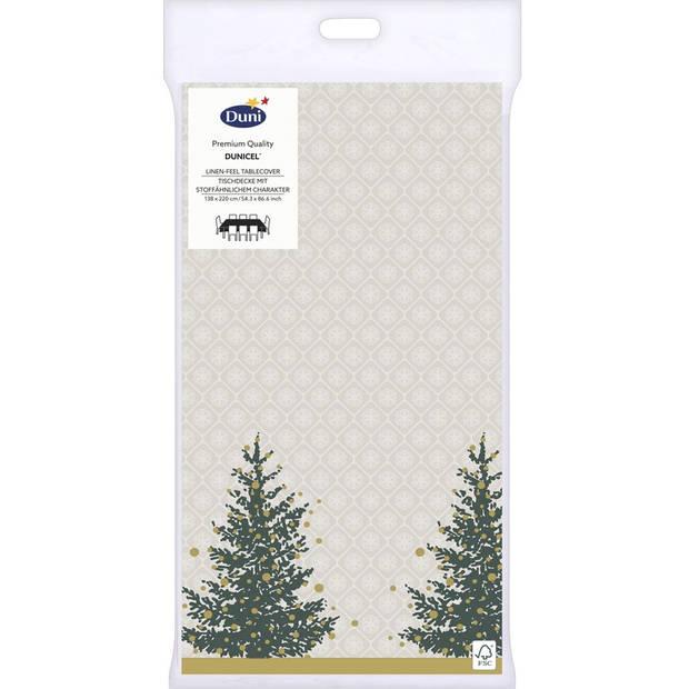 Kerst thema tafellaken/tafelkleed grijs/goud kerstbomen 138 x 220 cm - Kerstdiner tafeldecoratie versieringen