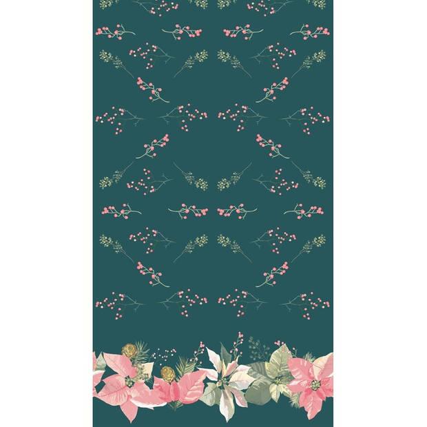 Kerst thema tafellaken/tafelkleed groen/roze Kerstster bloemen 138 x 220 cm - Kerstdiner tafeldecoratie versieringen