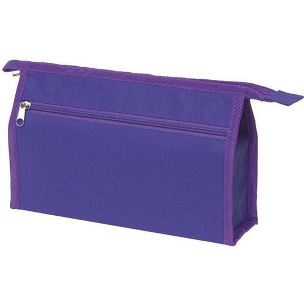 Voordelige toilettas/make-up tas paars 28 cm voor heren/dames - Reis toilettassen/etui - Handbagage