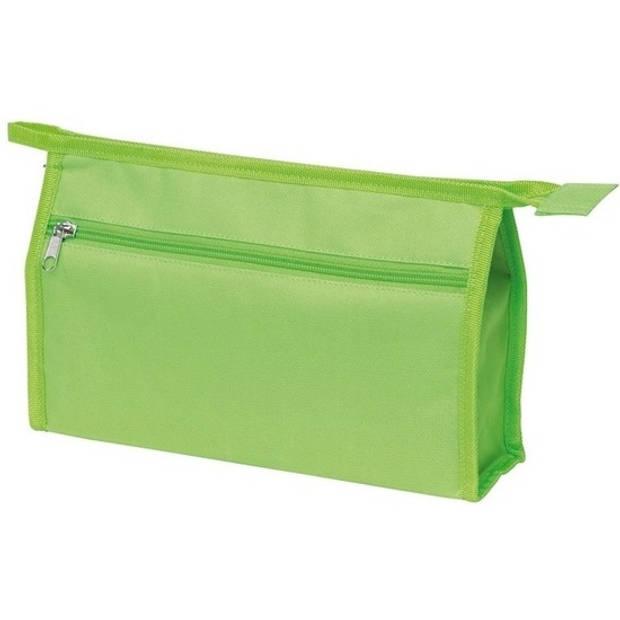 Voordelige toilettas/make-up tas lichtgroen 28 cm voor heren/dames - Reis toilettassen/etui - Handbagage