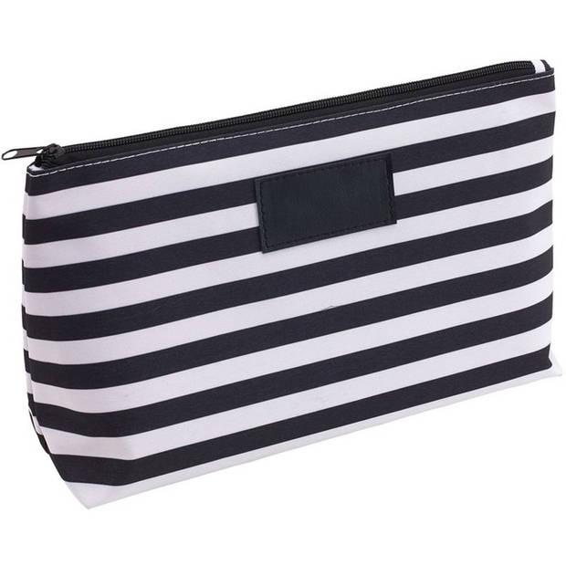 Toilettas/make-up tas gestreept zwart/wit 28 cm voor heren/dames - Reis toilettassen/etui - Handbagage