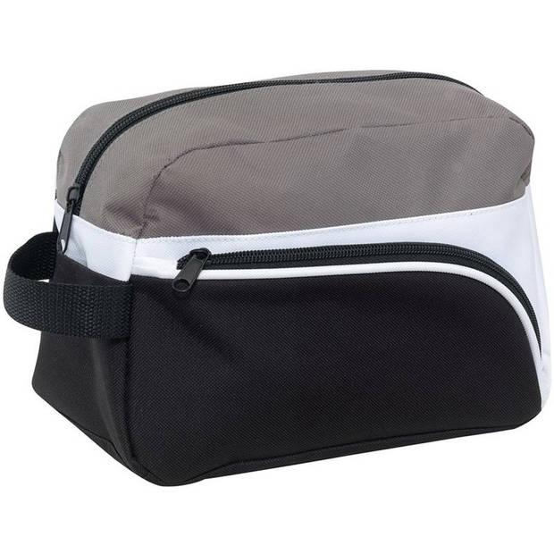 Toilettas zwart/grijs/wit 25 cm voor heren - Reis toilettassen/etui - Handbagage