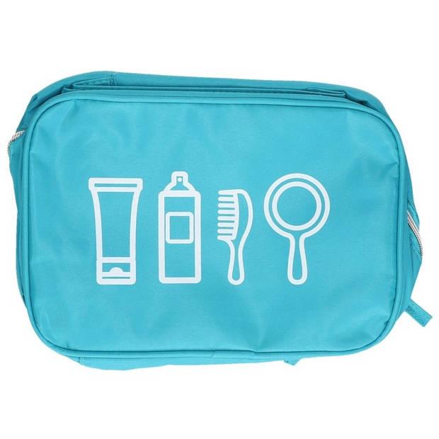 Turquoise blauwe toilettas met handvat 25 cm voor heren/dames - Reis toilettassen/etui - Handbagage