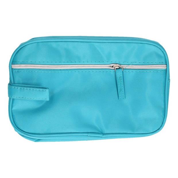 Turquoise blauwe toilettas met handvat 27 cm voor heren/dames - Reis toilettassen/etui - Handbagage