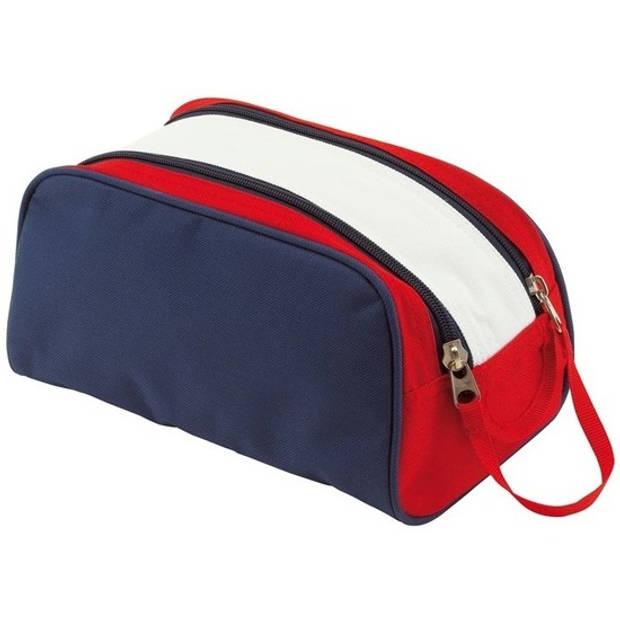 Blauw/wit/rode toilettas/make-up tas met handvat 27 cm voor dames/heren - Reis toilettassen/etui - Handbagage