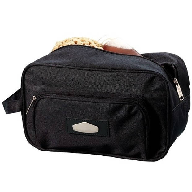 Zwarte toilettas/make-up tas met voorvak 30 cm voor heren/dames - Reis toilettassen/etui - Handbagage