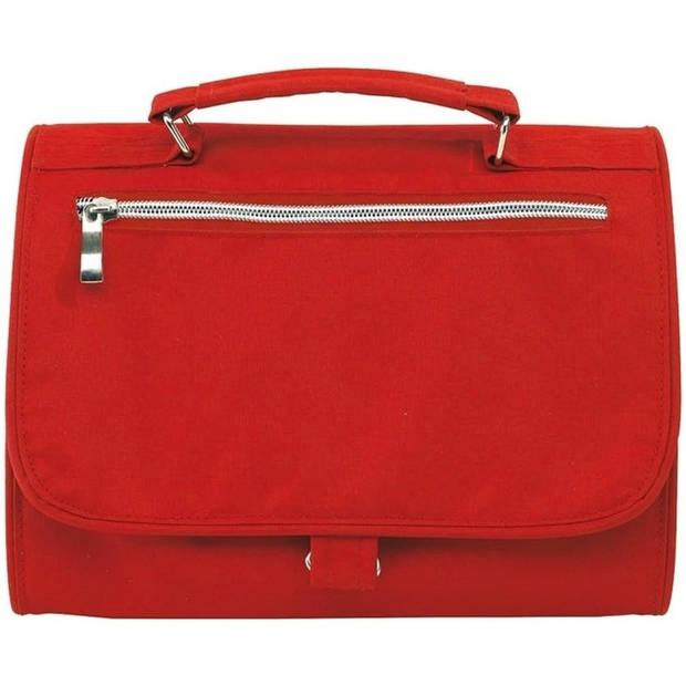 Luxe toilettas/make-up tas rood 25 cm - Reis toilettassen/etui - Handbagage