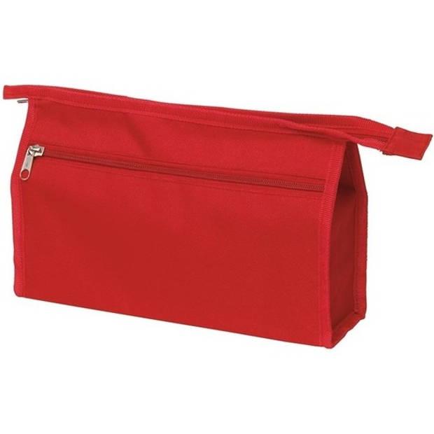 Voordelige toilettas/make-up tas rood 28 cm voor heren/dames - Reis toilettassen/etui - Handbagage