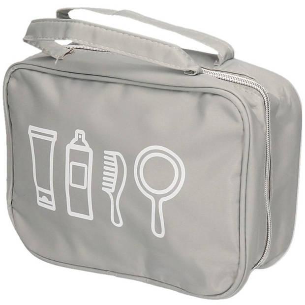 Grijze toilettas met handvat 25 cm voor heren/dames - Reis toilettassen/etui - Handbagage