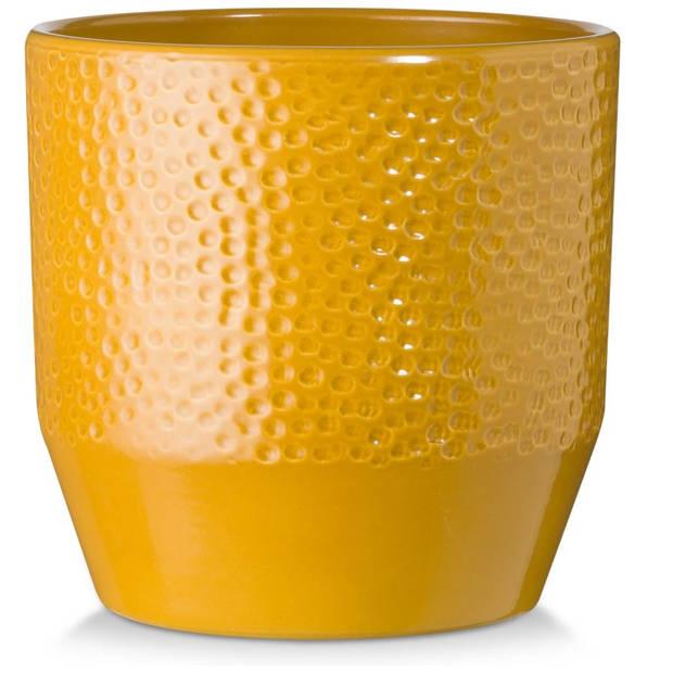 Blokker bloempot Jovi - okergeel - 13,5x13,5x13,5 cm