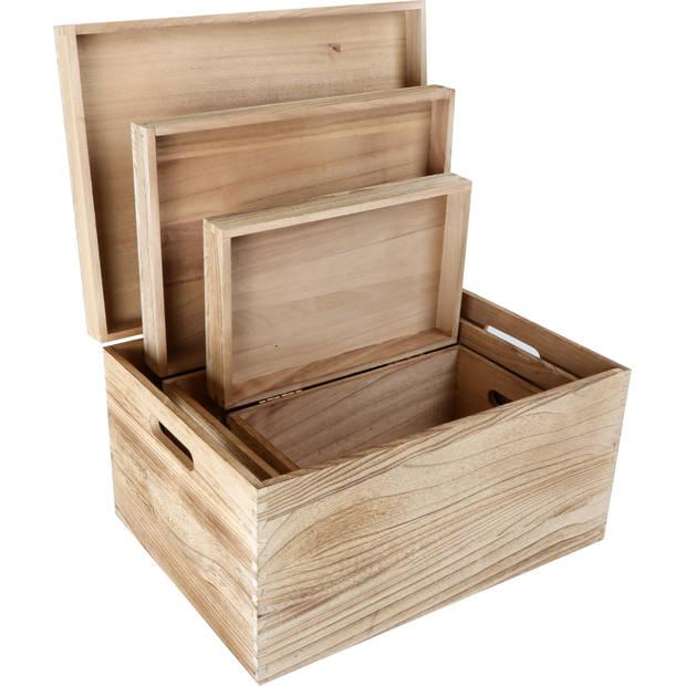 Houten kist onbehandeld hout met deksel 3-delig