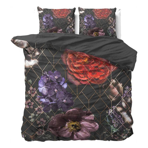 Dreamhouse Bedding Larissa dekbedovertrek - Lits-jumeaux (240x200/220 cm + 2 slopen) - Katoen satijn - Bordeaux