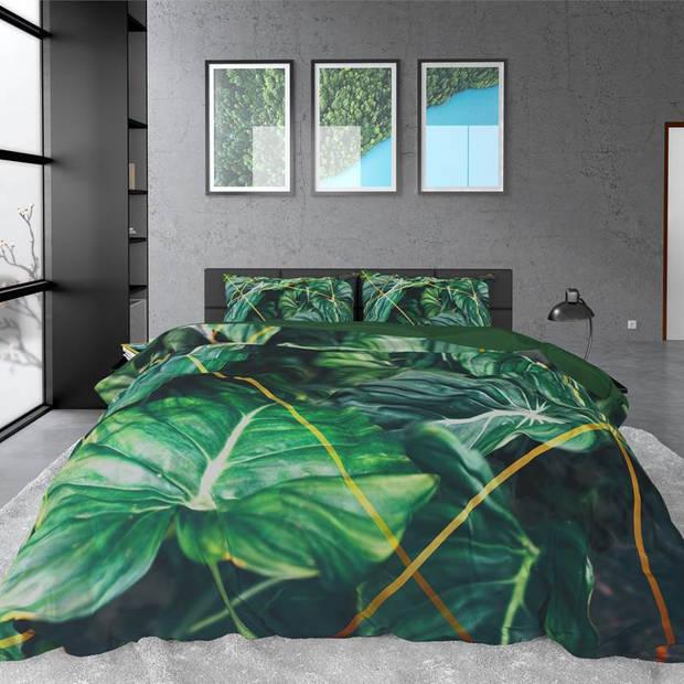 Dreamhouse Bedding Nature Vibes dekbedovertrek - 2-persoons (200x200/220 cm + 2 slopen) - Katoen satijn - Green
