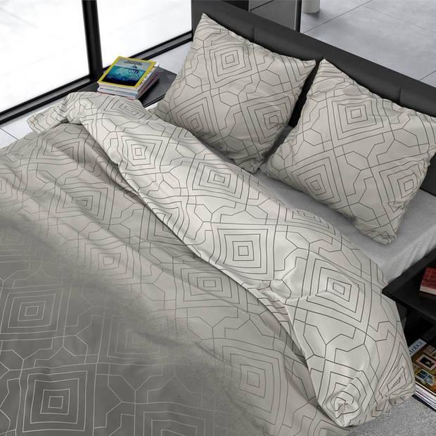 Dreamhouse Bedding Celsey dekbedovertrek - Lits-jumeaux (240x200/220 cm + 2 slopen) - Katoen satijn - Taupe