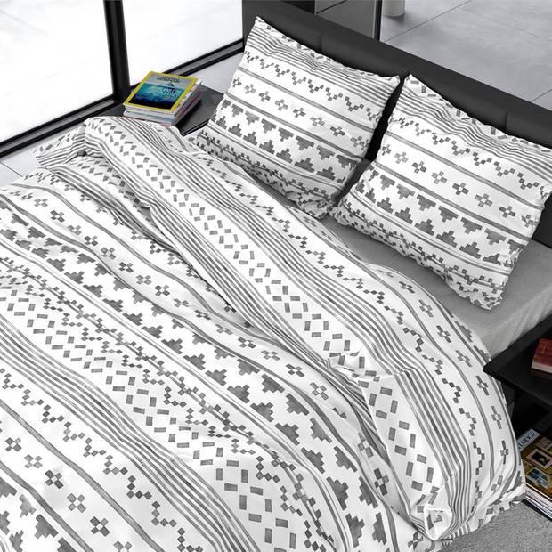 Dreamhouse Bedding Scandino dekbedovertrek - 1-persoons (140x200/220 cm + 1 sloop) - Katoen satijn - White