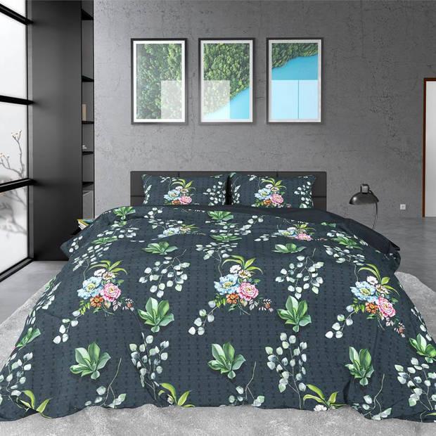 Dreamhouse Bedding Nature Leaves dekbedovertrek - 2-persoons (200x200/220 cm + 2 slopen) - Katoen satijn - Green