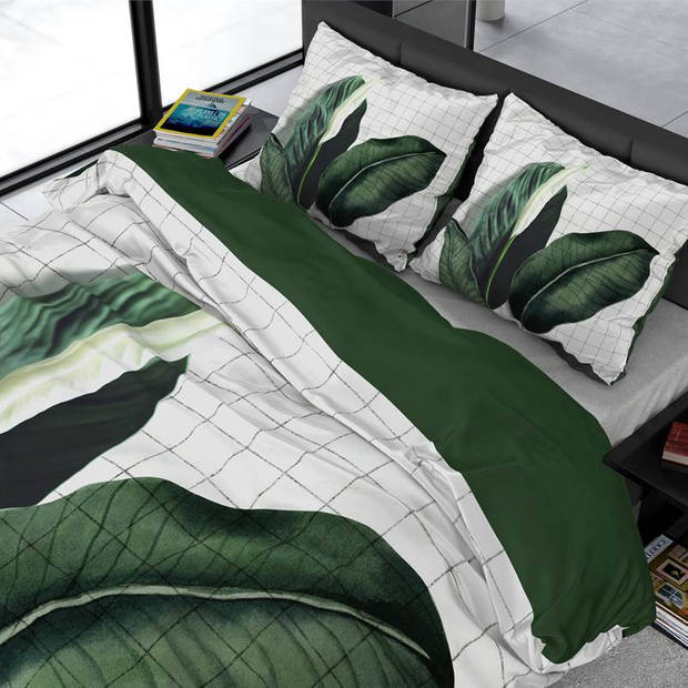 Dreamhouse Bedding Wild Nature dekbedovertrek - 2-persoons (200x200/220 cm + 2 slopen) - Katoen satijn - Green