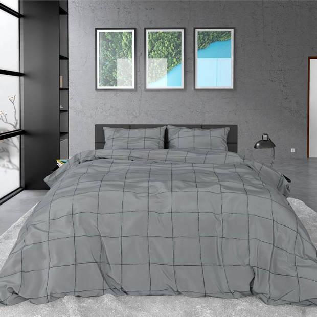 Dreamhouse Bedding Deep Check dekbedovertrek - 1-persoons (140x200/220 cm + 1 sloop) - Katoen satijn - Grey