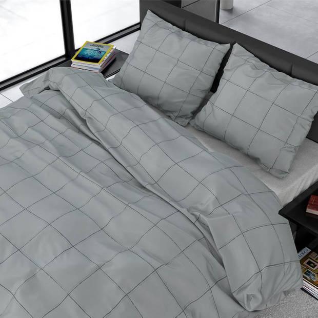 Dreamhouse Bedding Deep Check dekbedovertrek - Lits-jumeaux (240x200/220 cm + 2 slopen) - Katoen satijn - Grey