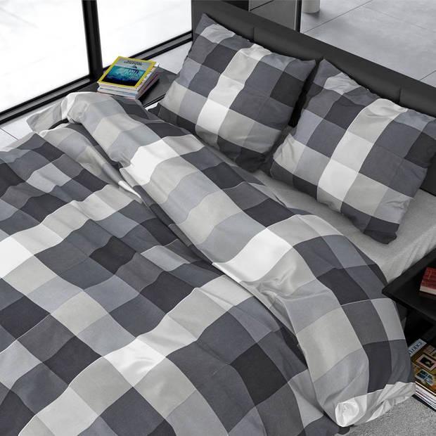 Dreamhouse Bedding Steef dekbedovertrek - Lits-jumeaux (240x200/220 cm + 2 slopen) - Katoen satijn - Anthracite