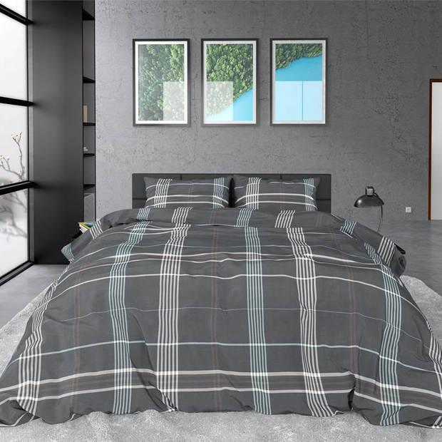 Dreamhouse Bedding Bruce dekbedovertrek - 2-persoons (200x200/220 cm + 2 slopen) - Katoen satijn - Grijs