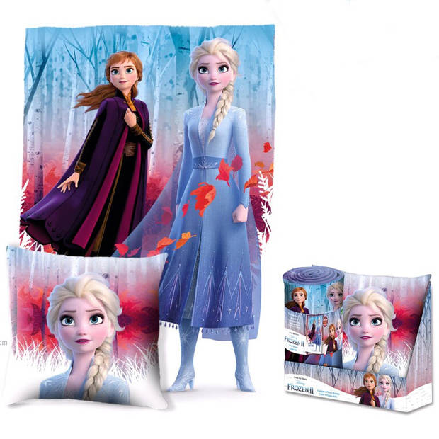 Disney Frozen Forest - Set Plaid + Kussen in cadeauverpakking - Multi