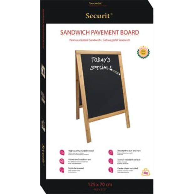 Securit stoepbord Sandwich ft 70 x 125 cm, teak