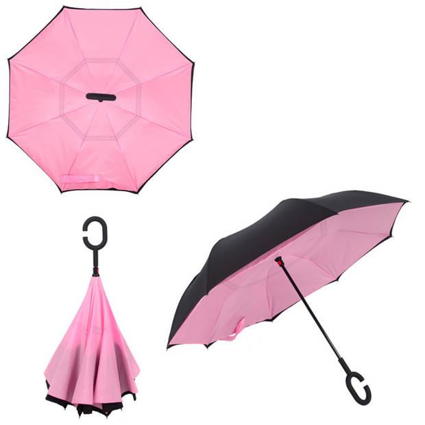 Dubbellaagse Omkeerbare Paraplu - Effen - Roze